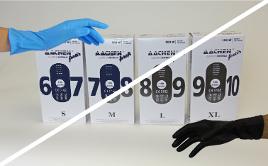 extra strong glove aachenfortis nitrile black blue